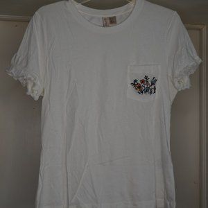 H&M White Tee w/ Flower Embroidery